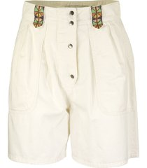 etro cotton shorts with embroidery