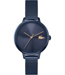 lacoste women's swiss cannes blue stainless steel mesh bracelet watch 34mm