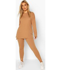 plus oversized rib top & legging co-ord, camel