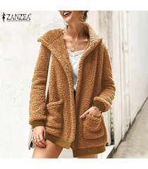 zanzea mujeres abrigo de piel con capucha cardigan jumper sweater fluffy flush fleece coat -caqui