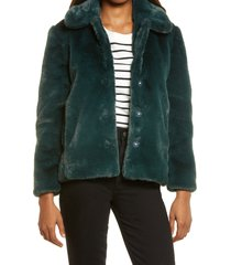 women's madewell faux fur crop coat, size large - green