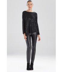 natori light weight knit sequin sweater, women's, size l