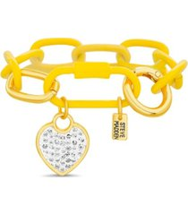 steve madden chunky color chain bracelet with casted stone and enamel heart charm