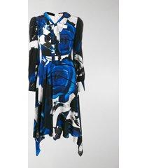 alexander mcqueen rose print draped dress