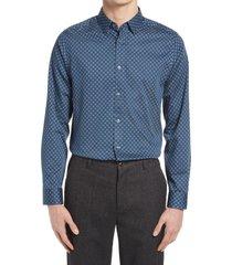 men's ted baker london trim fit geo flower stretch dress shirt, size 16.5 - blue
