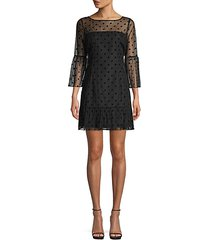 dot-print mesh a-line dress