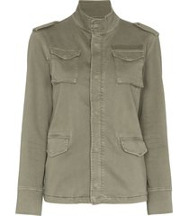 anine bing stand-up collar military jacket - green
