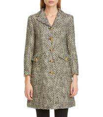 women's gucci gg detail wool blend tweed coat