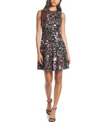 women's vince camuto embroidered mesh fit & flare dress, size 14 - black