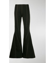 mugler topstitch flared trousers