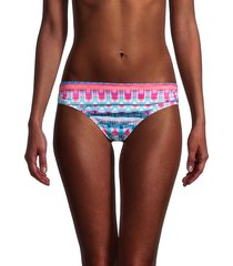 la blanca women's global jive ruched bikini bottom - pink multi - size 4