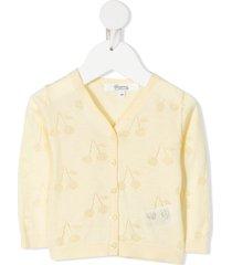 bonpoint open cherry knit cardigan - yellow