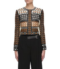 'chaya' woven applique leather jacket