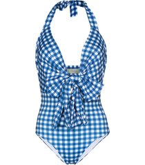 silvia tcherassi bow front halterneck gingham swimsuit - blue