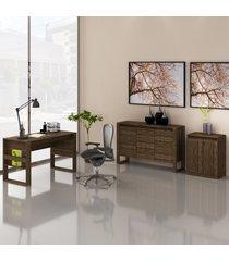conjunto de escritório com mesa, balcáo e armário baixo 04 nogal dallas - tricae