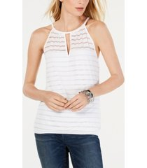i.n.c. illusion-stripe halter top, created for macy's