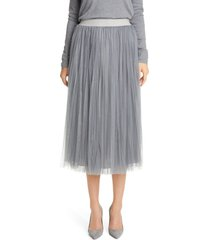 women's fabiana filippi tulle midi skirt, size 6 us - grey