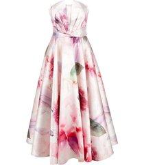 marchesa notte mikado pique tea length dress - white