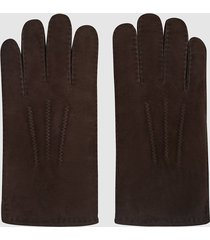 reiss boston - shearling gloves in mid brown, mens, size xl