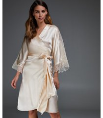 hunkemöller kimono i silke och spets beige