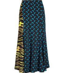 women's marine serre crescent moon print paneled midi skirt, size large - blue