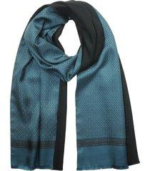 laura biagiotti designer men's scarves, petrol blue printed silk and black wool men's reversible scarf w/fringes