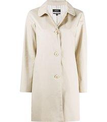 a.p.c. round-collar rain coat - neutrals