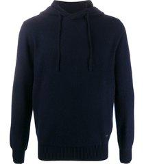 emporio armani slim-fit hoodie - blue