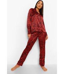 satijnen luipaardprint pyjama, red