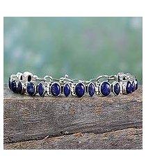 lapis lazuli link bracelet, 'royal story' (india)