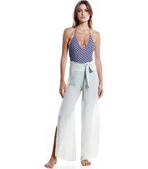 calça rosa chá jenny mineral gray beachwear seda cinza feminina (mineral grey, gg)