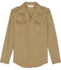 saint laurent slim-fit military shirt - neutrals