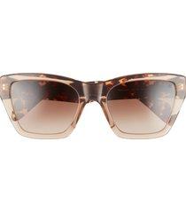 rag & bone 54mm gradient rectangle sunglasses in beige havana/brown gradient at nordstrom