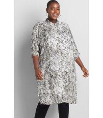 lane bryant women's button-front shirt maxi overpiece 26/28 grey viper print