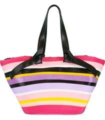 black and multi color striped tote