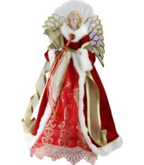 "northlight 16"" lighted fiber optic angel in garnet red coat with harp christmas tree topper"