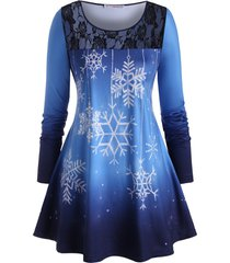 plus size ombre snowflake lace insert christmas tunic tee