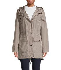 dkny women's four-pocket hooded anorak - black - size m