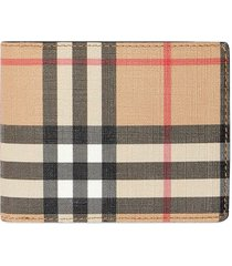 burberry vintage check e-canvas and leather bifold wallet - brown