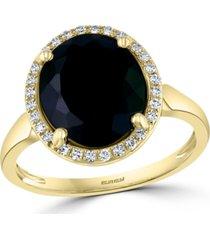effy diamond (1/8 ct. t.w.) & onyx (12 x 10mm) statement ring in 14k gold