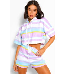 striped cropped hoodie & shorts set, lilac
