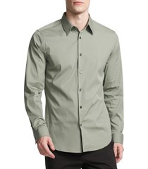 men's theory sylvain slim fit button-up dress shirt, size xx-large - green
