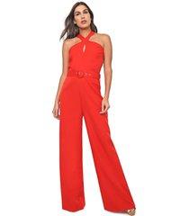 macacão frente única queens paris pantalona trapézio vermelho