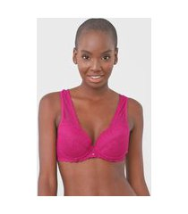 sutiã liz push up renda pink