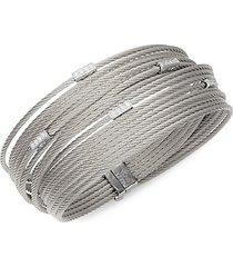 18k white gold, diamond & stainless steel cable bracelet