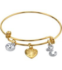 2028 14k gold-dipped heart and initial crystal charm bracelet
