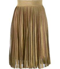 alberta ferretti pull-on knitted skirt - gold