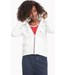 tommy hilfiger women's essential flag hoodie snow white - xxs