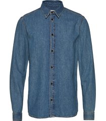 pure np overhemd casual blauw tiger of sweden jeans