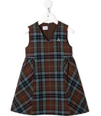 familiar plaid-print dress - brown